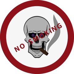 Skull with a cigar. Do not smoke.
