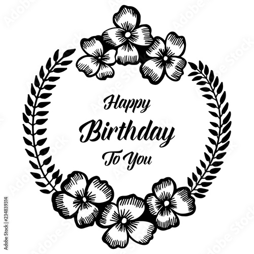 Happy Birthday Card With Flowers Hand Draw Vector