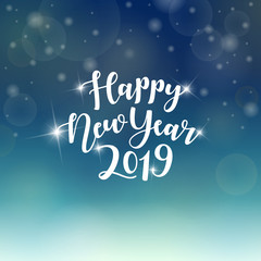 Happy New Year 2019 hand lettering text. Vector greeting card.