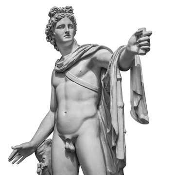 Famous roman greek copy of Apollo di belvedere sculpture isolated on white background