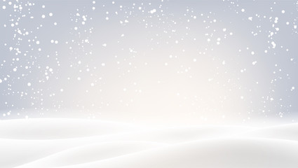 Grey background with winter landscape and snow for seasonal, Christmas and New Year design.
