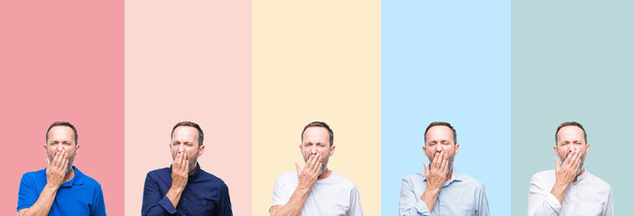 Collage of senior hoary handsome man over colorful stripes isolated background bored yawning tired covering mouth with hand. Restless and sleepiness.