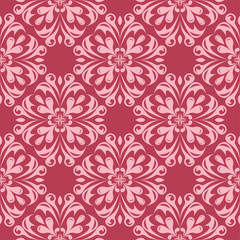 Floral seamless design on red background