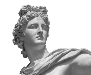 Photo sur Toile Con. ancienne Portrait of a plaster statue of Apollo isolated on white