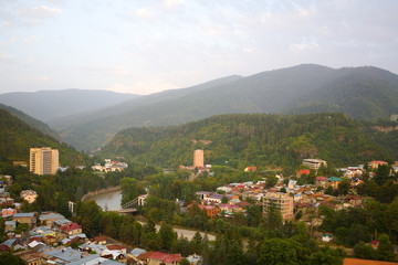 View of the city of Borjomi from above.