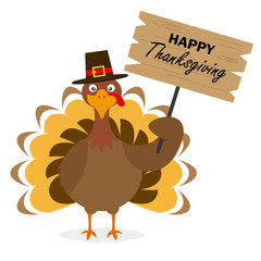 Thanksgiving day card. Turkey with hat and with poster