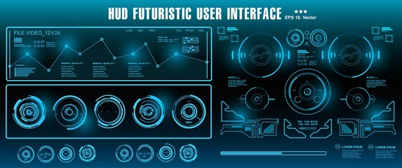 Sci-fi futuristic hud dashboard display virtual reality technology screen. HUD futuristic blue user interface