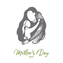 Mother's day, family time, adoption, family concept. Hand drawn isolated vector.