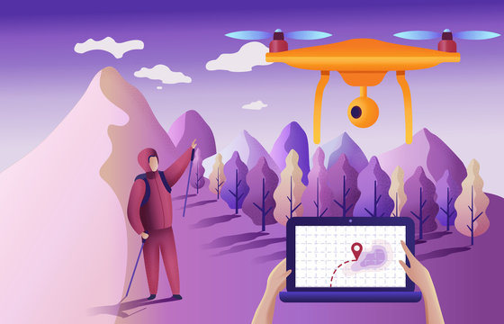 Drone or quadcopter for geolocation. Vector illustration. Drone fly over the landscape and makes the search for the lost. Hands controlling the drone via laptop.