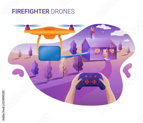 Drone or quadcopter for fire service  Vector illustration of