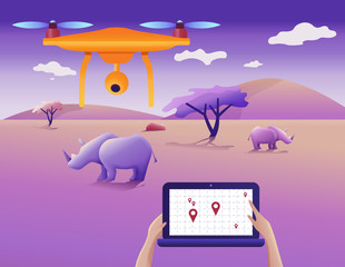 Drone or quadcopter for protecting wildlife. Vector illustration. Drone fly over the landscape and makes geolocation and counting animals.