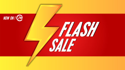 flash sale banner template with yellow thunder lighting. vector illustration. for web or print template