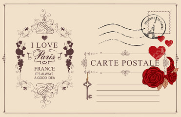 Retro postcard with words I love Paris and postmark with Triumphal arch. Romantic vector postcard in vintage style with red roses and hearts, vignette, rubber stamp and place for text