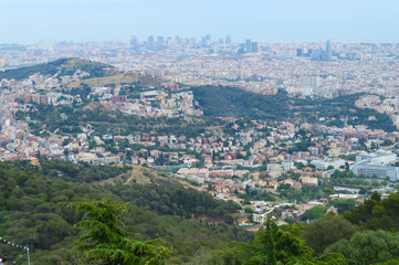City view from Tibidabo in Barcelona, Spain on June 22, 2016