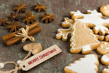 Homemade Christmas biscuits, star anise and cinnamon on rustic background.