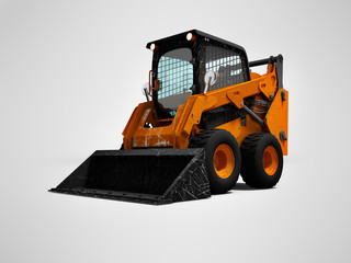 Old orange wheel loader on wheels with bucket 3d render on gray background with shadow