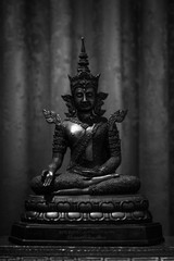 The old Buddha Statue in Black and white Tone