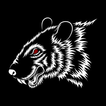 Vector image of a white rat on a black background.