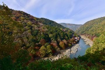 京都の嵐山の紅葉と船
