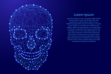 Human skull front from futuristic polygonal blue lines and glowing stars for banner, poster, greeting card. Vector illustration.