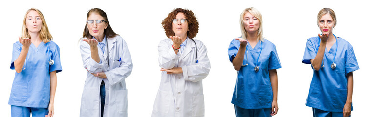Collage of group of professional doctor women over white isolated background looking at the camera blowing a kiss with hand on air being lovely and sexy. Love expression.