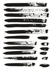 Calligraphy Paint Brush Lines Mix High Detail Abstract Vector Background Set 112