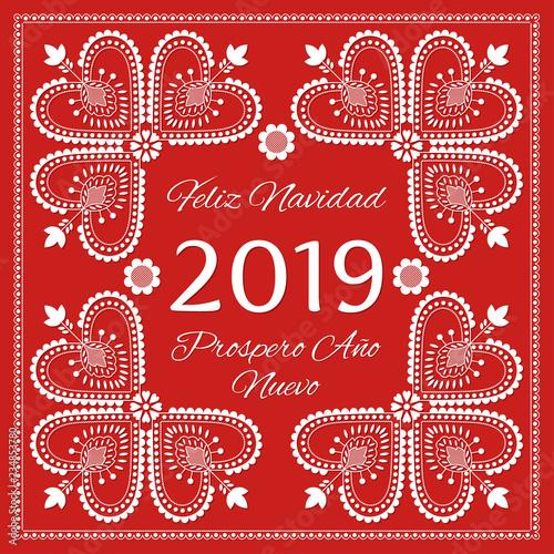 Folk Art Christmas Card Vector Template Feliz Navidad Prospero