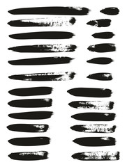 Calligraphy Paint Brush Lines Mix High Detail Abstract Vector Background Set 92