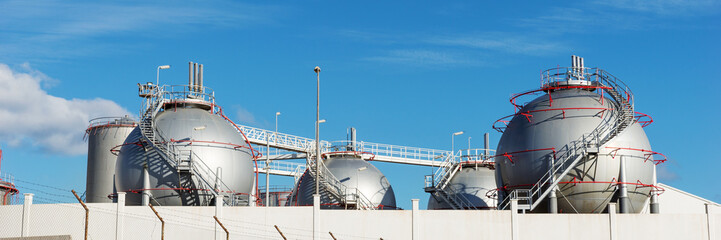 Oil or fuel storage tanks in industrial area