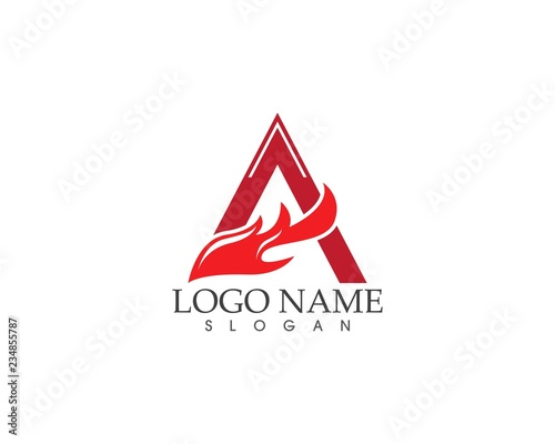 A letter fire logo template