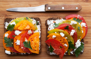 Sandwich with curd cheese and ripe tomatoes, vegetable sandwich