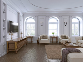 Classic interior. Sofa, chairs, sidetables with lamps,table with decor. White walls with mouldings. Floor parquet herringbone,rug with pattern.