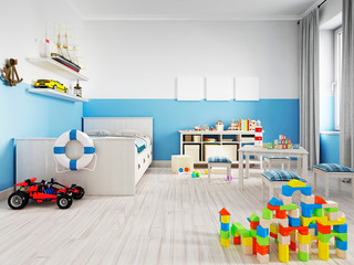 Cozy modern children's room decor with white furniture, floor and colorful additions and toys.