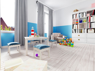 Boy s bedroom interior with a white wall, like bed, cabinet, framed poster and toys.