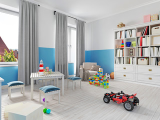 Colorful children's room interior with bookcase, bed, pillow, shelves and white armchair with a blanket.