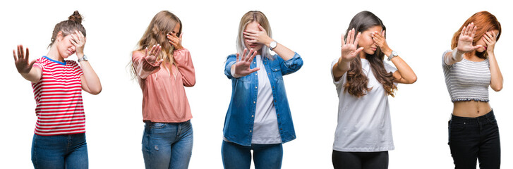 Collage of young beautiful grop of women over isolated background covering eyes with hands and doing stop gesture with sad and fear expression. Embarrassed and negative concept.