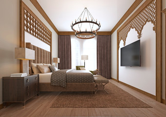 Bedroom in a middle eastern arabic style.
