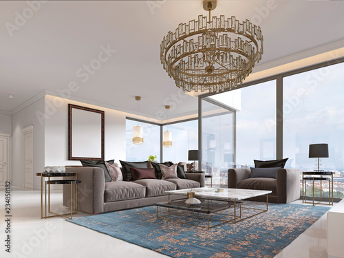 Art Deco Living Room With Gorgeous Large Windows And Beautiful Views,  Gilded Metal Chandelier.