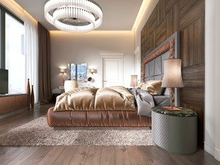 Luxurious bedroom in modern style with large windows in the wall..Frosted glass chandelier, dressing table, TV unit with retractable TV.