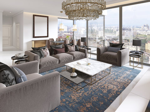 luxurious interior of living room contemporary style with TV unit, sofa, armchairs, coffee table and dining table with kitchen.