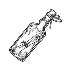 Message in a bottle engraving vector illustration. Scratch board style imitation. Hand drawn image.
