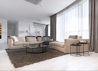 Modern light contemporary living room with large corner sofa and dining area. Console with a mirror, TV unit, coffee and side table.