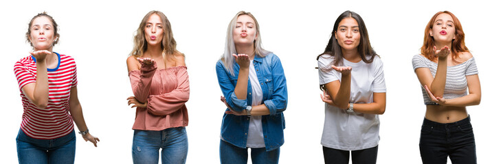 Collage of young beautiful grop of women over isolated background looking at the camera blowing a kiss with hand on air being lovely and sexy. Love expression.
