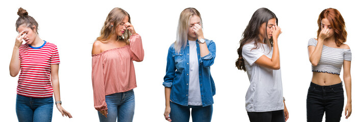 Collage of young beautiful grop of women over isolated background tired rubbing nose and eyes feeling fatigue and headache. Stress and frustration concept.