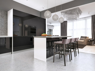 Contemporary kitchen with a black glossy facade with an island and bar stools.