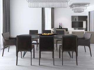 luxurious modern dining room with a large table and cushioned chairs and a crystal chandelier over.