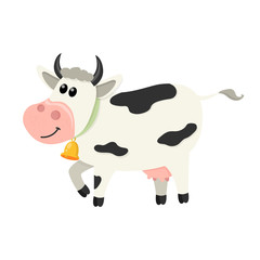 Cute cow walks. Set of cute Cows character in various poses