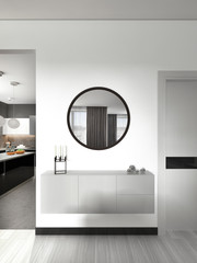 white hinged console with a mirror in the living room contemporary style.