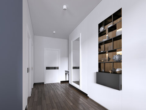 Hallway corridor in bright white colors with doors and built-in true niche with shelves and decor.