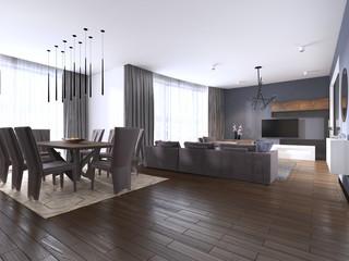 dining set in modern luxury brown dining room